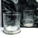 Pewter Base Whisky Glasses PAIR Personalised Engraved, ref PBWP